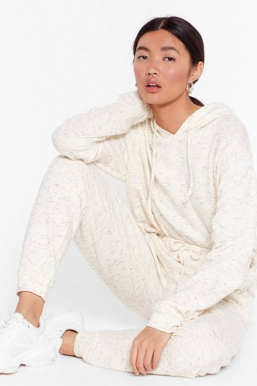 Oatmeal Speckled Drawstring Hoodie and Sweatpants Set