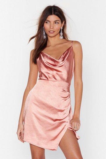Apricot Don't Cowl Me Angel Satin Wrap Dress