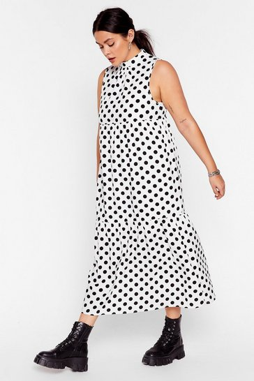 White What's Dot into You Plus Polka Dot Midi Dress