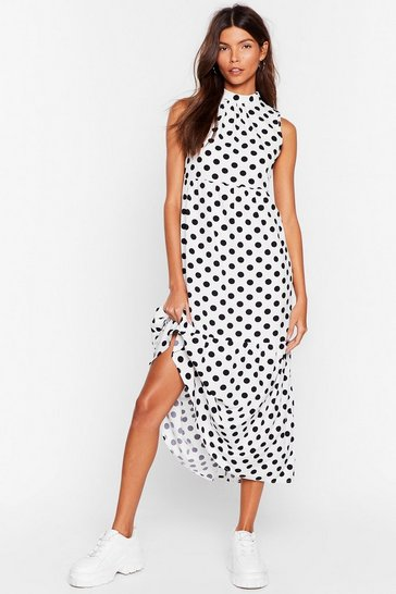 White What's Dot into You Polka Dot Midi Dress