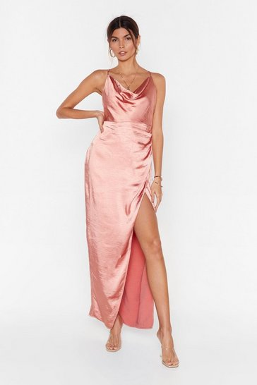 Apricot Don't Cowl Me Angel Satin Maxi Dress