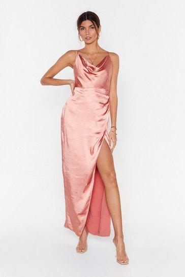 Apricot Don't Cowl Me Angel Satin Maxi Dress