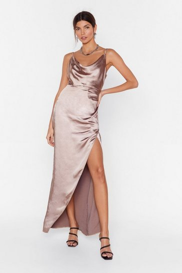 Taupe Don't Cowl Me Angel Satin Maxi Dress