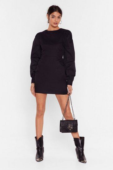 Black Puff Up the Jam Balloon Sleeve Mini Dress