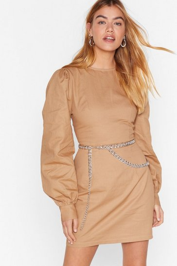 Camel Puff Up the Jam Balloon Sleeve Mini Dress