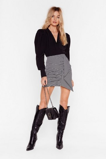Black I Houndstooth You Ruffle Mini Skirt
