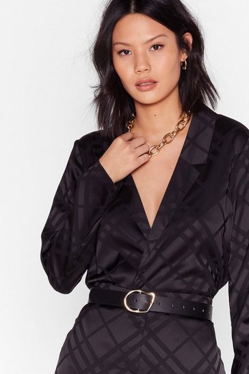 Black Grid You Hear Me Jacquard Satin Blouse