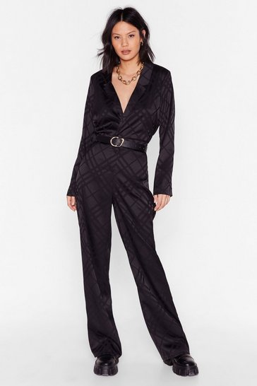 Black Grid You Hear Me Jacquard High-Waisted Pants