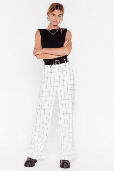 White Why Grid You Do That Wide-Leg Pants