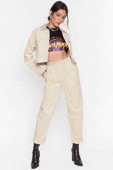 Off white Corduroy Story High-Waisted Tapered Pants
