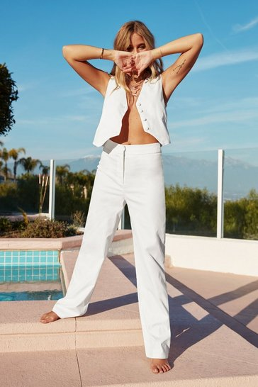 White Let's Not Waist Time High-Waisted Trousers
