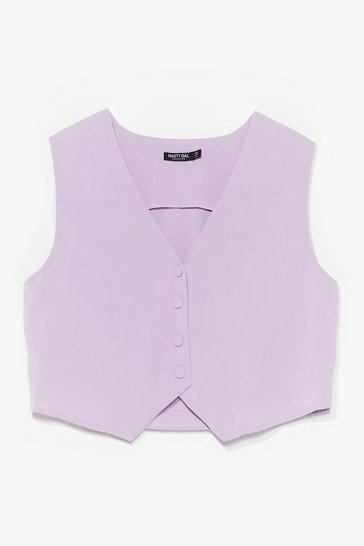 Lilac Let's Not Waist Time Button-Down Vest