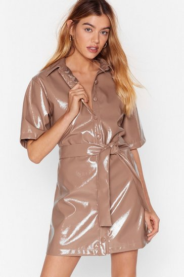 Camel Vinyl Countdown Mini Shirt Dress