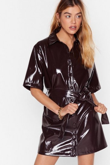 Chocolate Vinyl Countdown Mini Shirt Dress