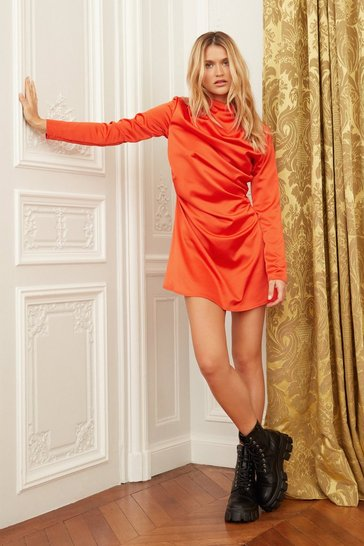 Orange The Language of Love Satin Mini Dress