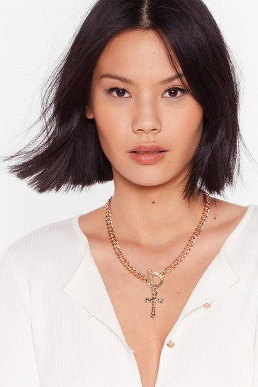 Gold Come A-cross Chain Necklace