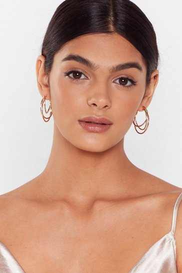 Gold Triple Threat Hoop Earrings
