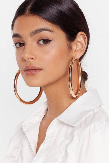 Gold Oversized Wide Hoop Earrings