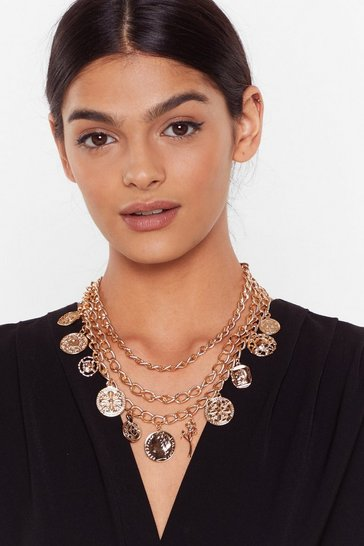 Gold Coin the Term Layered Chain Necklace