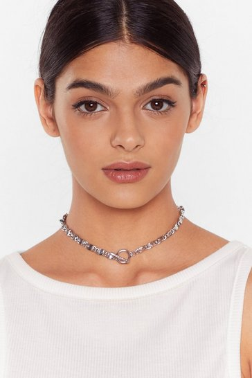 Silver Bar Hoop Closure Chunky Chain Necklace