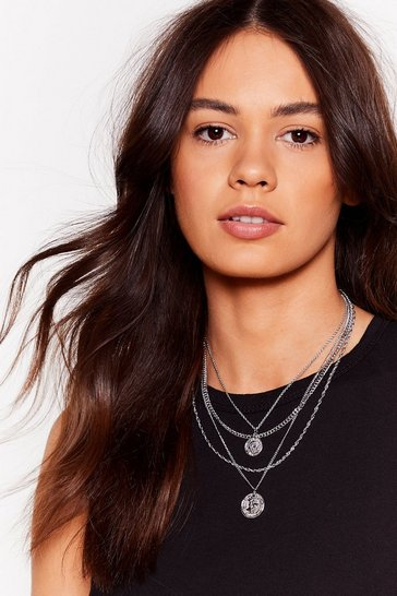 Silver Toss a Coin Layered Chain Necklace