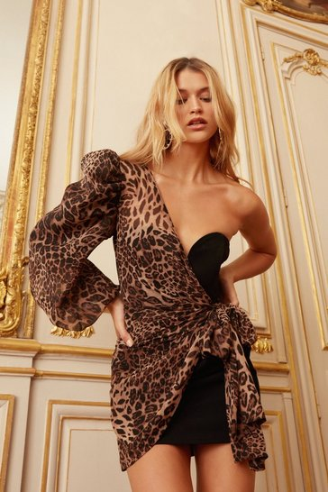 Black Leopard One Shoulder Wrap Mini Dress