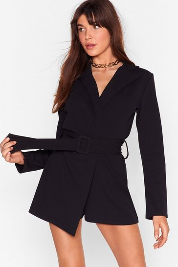 Black Work It Belted Tailored Romper