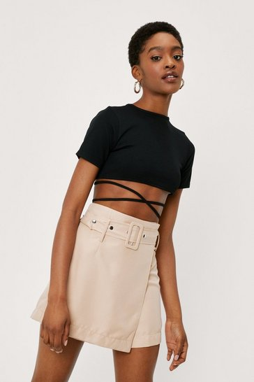 Stone Belted Wrap Over Tailored Shorts