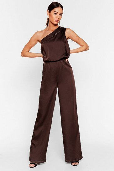 Chocolate Sheen of the Night Satin One Shoulder Jumpsuit