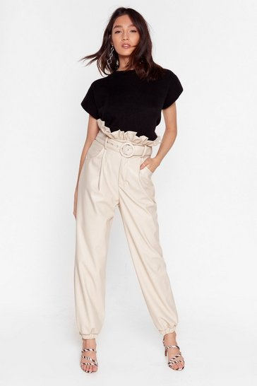 Off white Faux Leather-lasting Love Paperbag Belted Pants