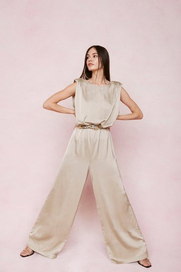 Sage Satin High Neck Wide Leg Jumpsuit