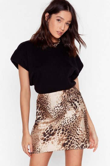 Brown No Roar Chances Leopard Mini Skirt