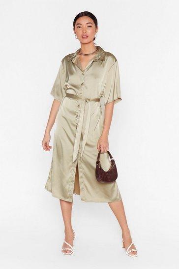 Sage Talk Shirty to Me Satin Midi Dress
