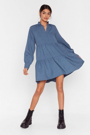 Blue Get What You Grid Check Mini Dress