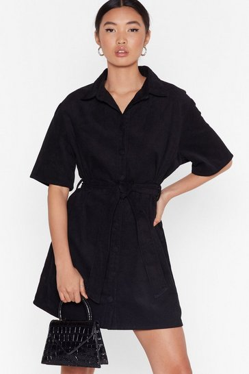 Black Corduroy Mini Dress with Tie Belt at Waist