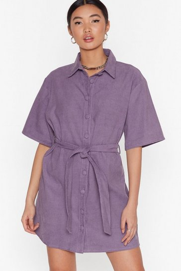 Lavender Corduroy Mini Dress with Tie Belt at Waist