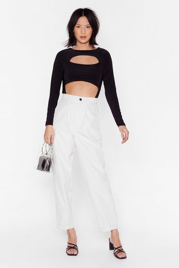 White Let's Turn Up High-Waisted Pleated Pants