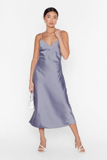 Grey Read My Slip Satin Midi Dress