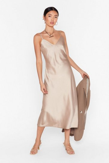 Taupe Read My Slip Satin Midi Dress