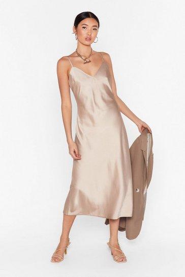 Taupe Read My Slip Satin Midi Dress