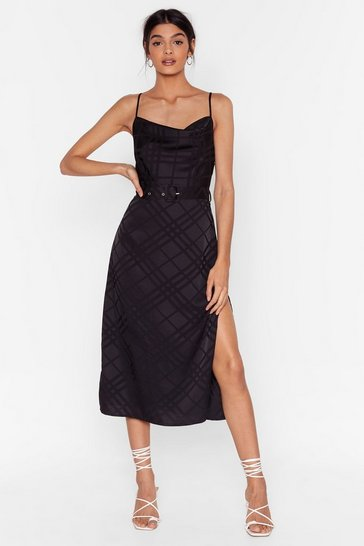 Black Satin Check Cowl Neck Midi Dress
