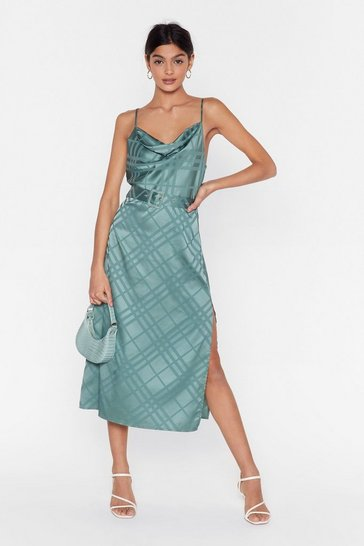 Sage Grid Satin Midi Dress Check Print