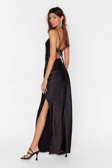 Black Tie Low Satin Maxi Dress