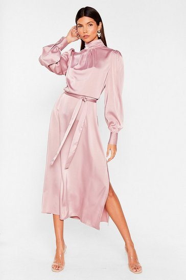 Mauve Sleek Your Heart Belted Midi Dress
