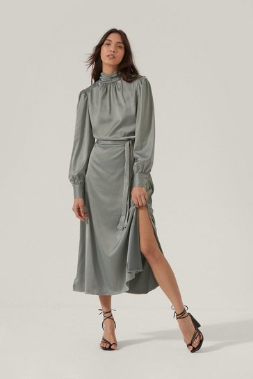 Sage Satin High Neck Belted Midi Dress
