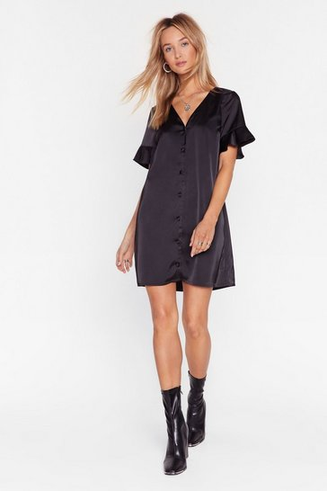 Black Late Registration Satin Mini Dress