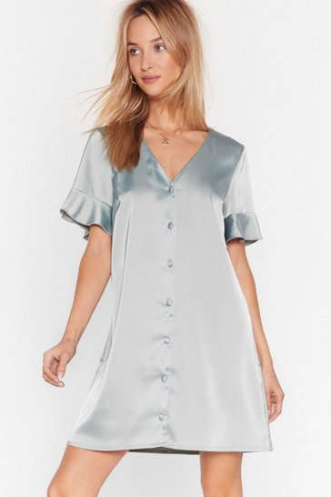 Sage Late Registration Satin Mini Dress
