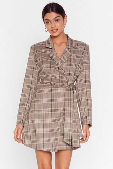 Brown Mini Blazer Dress with Check Print Throughout