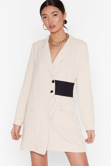 Stone Nothing Gets Contrast Me Mini Blazer Dress