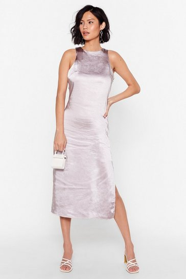 Silver grey Racer Neck Midi Dress